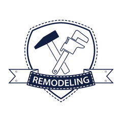 Professional house remodeling logo. Silhouette of tools for repair in blue. Stock vector. Flat design.