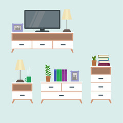 Set of living room furniture in modern style, a tv table. Flat style vector design template