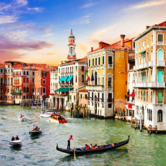 Most beautiful and romantic city Venice over sunset. Italy