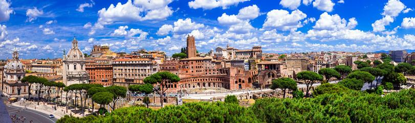 Landmarks of Rome .Panoramic view  of piazza Venezia and Trajan market.