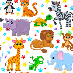 Seamless pattern animals and stars