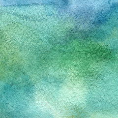 Illustration of a watercolor texture of blue and green colors. Watercolor abstract background, blots, blur, fill, print, spray, rub.