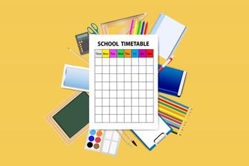 School supplies around the empty school timetable