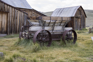 Wooden cart in barn yard of Bodie, California
