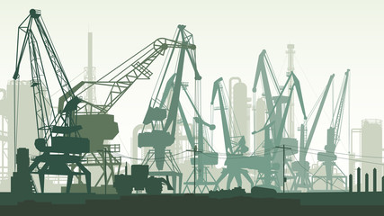 Horizontal illustration of port with cargo crane tower.