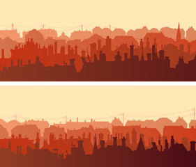Horizontal wide banners of big European city with chimneys.