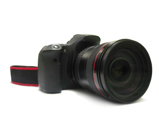 Isolated, digital camera dslr and lens for photographer on white background