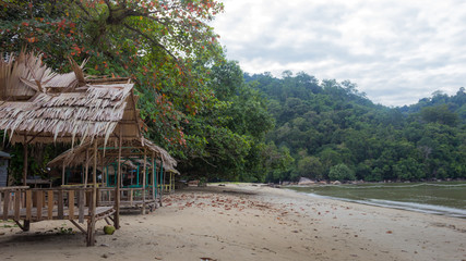 Ruined hut on the beach. Indonesia