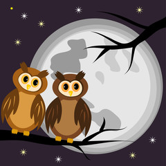 Two owls on a black branch of a tree at night, against a background of the full moon and stars