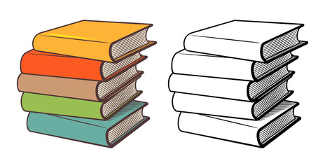 Stacks of books. Stylized vector illustration, outline and colored version