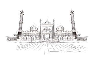 Sketch of Jama Masjid, Delhi in vector illustration. 17th-century, red sandstone Mughal-style mosque with a 25,000 capacity & 40m high minarets. Hand drawn sketch illustration.