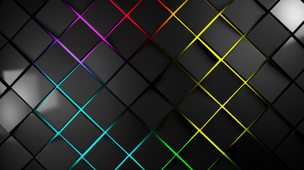 Wall Mural - grey and multicolor squares modern background 3d render illustration