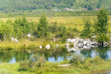 Idyllic landscape of nature in Siberia, Russia - on a day in summer 2017