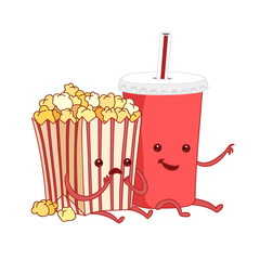 Vector cartoon illustration. fast food. Friends forever. Popcorn, movies, cinema. Comic characters.