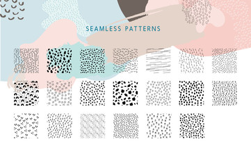 Collection of Vector Seamless Pattern Tiles, Hand Painted Design Elements, Organic Shapes, Abstract Backgrounds
