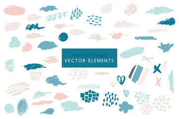Set of Vector Abstract Brush Strokes, Hand Painted Design Elements, Organic Shapes, Abstract Backgrounds