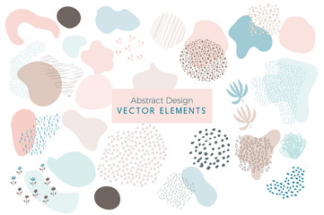 Set of Vector Abstract Brush Strokes, Hand Drawn Design Elements, Organic Shapes, Abstract Backgrounds Wall mural