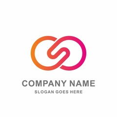 Monogram Letter S Infinity Circle Digital Link Connection Technology Computer Business Company Stock Vector Logo Design Template