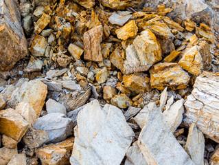 Texture of stone and soil on rocky mountain soil