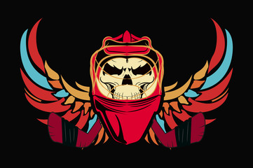 The emblem of hockey. the skull in the mask hockey player with wings. black background.