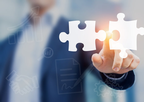 Mergers and acquisition concept with consultant touching puzzle pieces icons