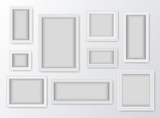 Set of white realistic frames with shadow. Vector illustration
