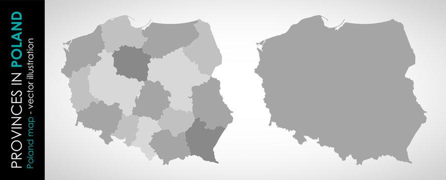 Wektorowa mapa województw w Polsce MONOCHROMATYCZNA