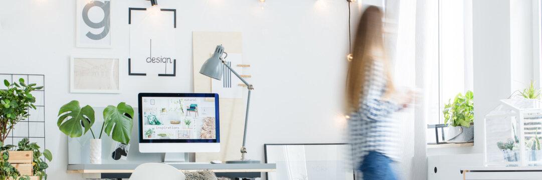 Background photo, scandinavian white office