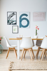 Table with chairs in dining room