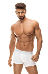 Handsome man in white boxer shorts