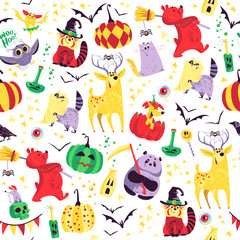 Vector seamless Halloween pattern with magic traditional elements isolated - with hat, pumpkin, bat, stars, spooky, lettering etc. Good for advertising, media, cards design, packaging paper.