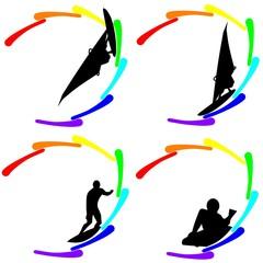 Sport de glisse d'eau : logo arc en ciel