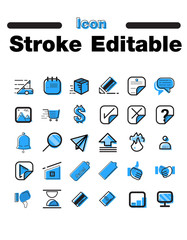 post vector icon set in thin line style