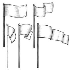 Flag illustration, drawing, engraving, ink, line art, vector