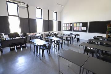 Sunlit modern elementary school classroom