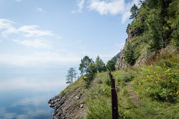 Idyllic landscape of Lake Baikal, Siberia, Russia - on a day in summer 2017