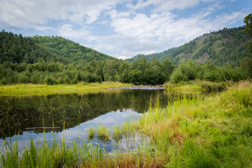 Idyllic landscape of Siberia, Russia - on a day in summer 2017