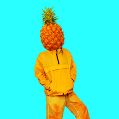 Man Pineapple. Minimal art collage