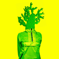Minimal art collage Green Cactus man Creative design