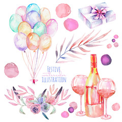 Holiday set of watercolor gift box, air balloons, champagne bottle, wine glasses and floral elements in pink and purple shadows, hand painted isolated on a white background
