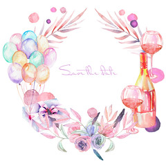 Holiday wreath with watercolor gift box, air balloons, champagne bottle, wine glasses and floral elements in pink and purple shadows, hand painted on a white background