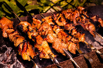 Grilled pork skewers on the grill