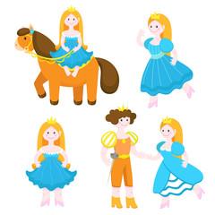 Vector set of cute princesses. Princess and prince, interaction
