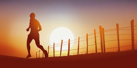 Courir - coureur - footing - jogging - sport -campagne - chemin - coucher de soleil