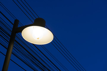 The classic style street lamp  with the night  blue sky.