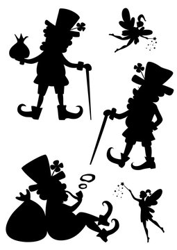 Vector set of painted silhouettes leprechauns and fairies.