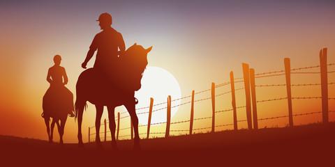 promenade à cheval - cavalier - cheval - équitation - randonnée - coucher de soleil