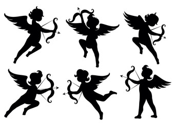 Vector set of silhouettes of angels.