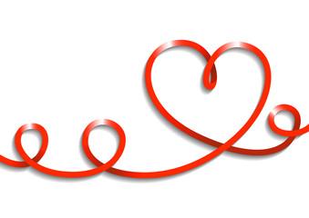 Vector drawing ribbon, heart