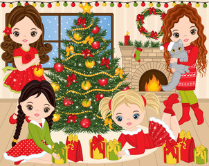 Vector Christmas and New Year Set with Cute Little Girls, Xmas Tree and Fireplace